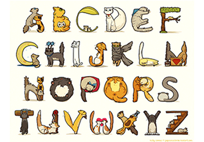 The full alphabet made out of cats.