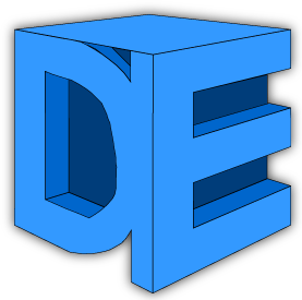 The Dan Ellis logo. A 3D image of the letters D and E in multiple shades of blue.